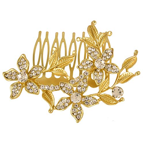 Efulgenz Indian Bollywood Traditional White Crystal 14 K Gold Plated Floral Pearl Style Hair Pin Accessory ()