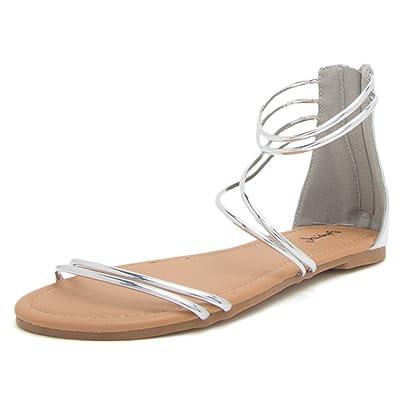 dbb9d5408 Qupid Women s Caged Sandal Flat  10CeSK0900419  -  25.99