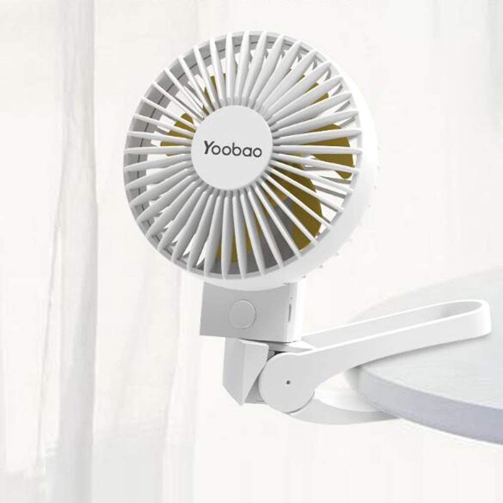 Color : Blue MXD Foldable Hand-held Fan 3 Winds Freely Exchanged with Clips to Free Hands