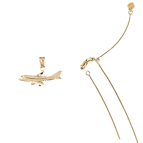14K Yellow Gold Airplane Pendant on an Adjustable 14K Yellow Gold Chain Necklace