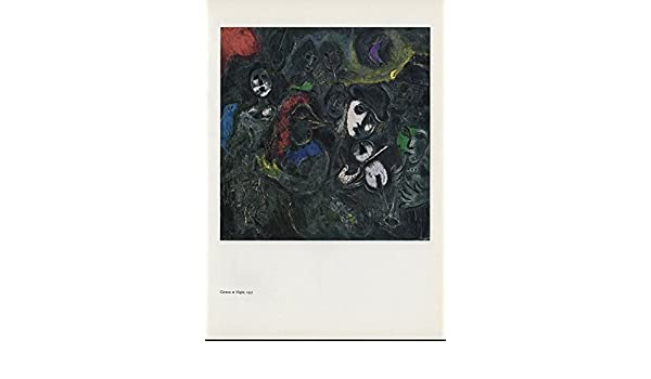 """1957/"""" by MARC CHAGALL COLOR Art Plate Lithograph 1963 Vintage /""""CLOWNS AT NIGHT"""