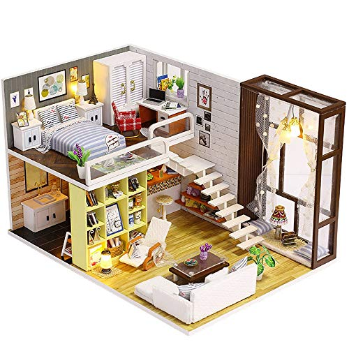 Euone  Toys Clearance , 3D Wooden DIY Miniature House Furniture LED House Puzzle Decorate Halloween -