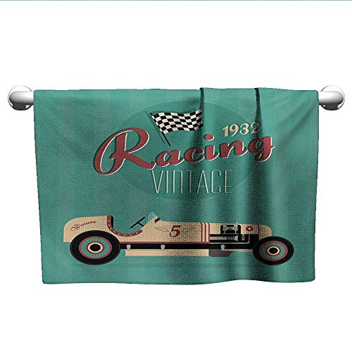 (xixiBO Microfiber Swimming Pool Beach Towel W39 x L10 Cars,Poster Print of a Classic Vintage Automobile Nostalgia Rally Antique Machine,Teal Ruby Cream Decent Towels )