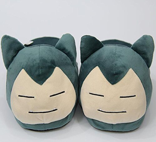 Follow918 Cartoon Pocket Monster Green Snorlax Pattern Creative Plush Slippers Soft Warm House Shoes for Winter Gift for Lovers Families Friends