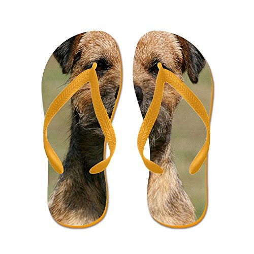 CafePress Border Terrier 9Y325D-038 - Flip Flops, Funny Thong Sandals, Beach Sandals Orange