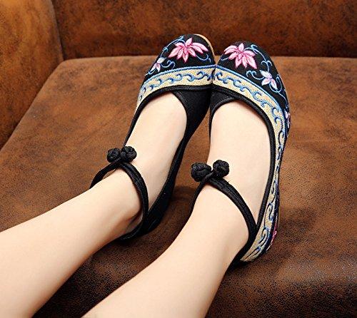 Cómodo Aumentados Femeninos Zapatos Manera Zq Bordados Lenguado Tendón Étnico Black Ocasional Estilo Lino Del SwFpwqA