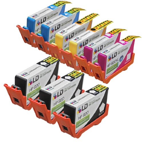 LD © Remanufactured Replacement for HP 920XL / 920 Ink Cartridges: 3 CD971AN Black, 2 CD972AN Cyan, 2 CD973AN Magenta & 2 CD974AN Yellow for OfficeJet 6000, 6500, 6500a, 6500a Plus, 7000 & 7500a