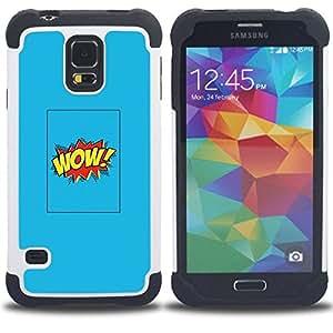 For Samsung Galaxy S5 I9600 G9009 G9008V - wow cartoon comic blue poster text Dual Layer caso de Shell HUELGA Impacto pata de cabra con im????genes gr????ficas Steam - Funny Shop -