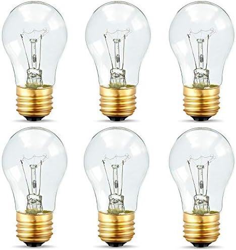 Appliance Light Bulbs 40 Watt A15, 120 Volt Refrigerator Oven Bulbs, High Temp – E27/E26 Medium Base – Dimmable A15 Clear Ceiling Fan Bulbs, Warm White Incandescent Bulb, 400 Lumens Oven Light Bulbs