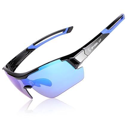 LJ Sport Full con gafas con revestimiento completo y lentes polarizadas y aerodinámico, Azul