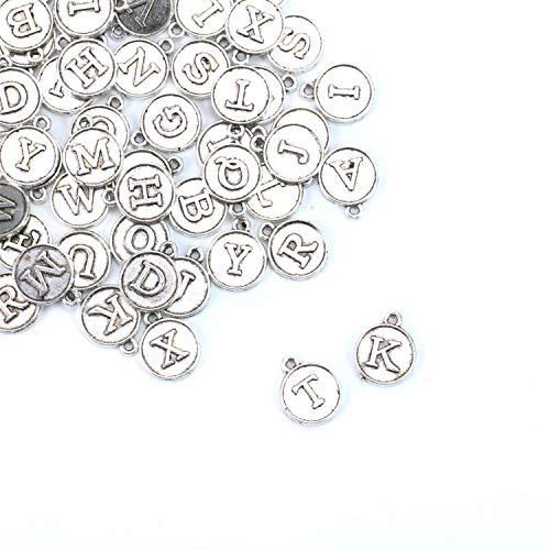 (JETEHO 52 Pack Silver Tone Alphabet Letter Pendants A-Z Charms Bulk for Bracelets Jewelry Making)