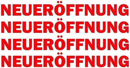 Finest Folia 4 X Schriftzug NeuerÖffnung Rot Schaufenster Aufkleber Laden Geschäft Werbung Kx046 Auto