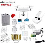 DJI Phantom 4 PRO V2.0 Quadcopter Drone with 1-inch 20MP 4K Camera KIT, 2 Total DJI Batteries + 64 GB Micro SD Card + Reader 3.0 + Snap on Prop Guards + Range Extender + Charging Hub