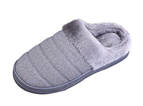 ICEGREY Herren Mode Strickte Warme Hausschuhe Gemütliche Plüsch Fleece Gefüttert Slip auf Wärmehausschuhe Plüsch Pantoffeln Grau 40 41