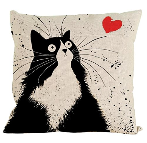 NYKKOLA Pillow Case, Cute Cat Cotton Sofa Waist Throw Cushion Cover (Black White, 18 x 18 inches)