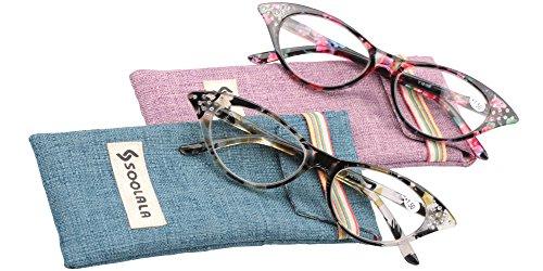SOOLALA Womens Fashion Designer Rhinestone Cat Eye Magnifying Reading Glasses, RedYellow, - Glasses Online Designer Reading