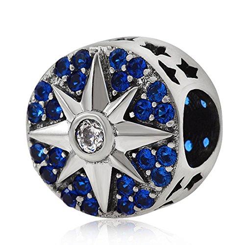 925 Sterling Silver Star Charm Spacer Charm Sun Moon Charm Anniversary Charm Birthday Charm for Pandora Charms Bracelet