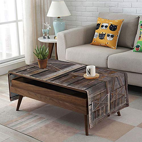 iPrint Linen Blend Tablecloth,Side Pocket Design,Rectangular Coffee Table Pad,Rustic,Old Wooden Barn Door of Farmhouse Oak Countryside Village Board Rural Life Photo Print,Brown,for Home Decor