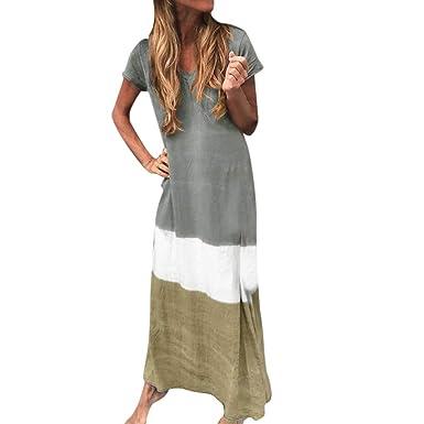 Vestido de Manga Corta Degradado de Color para Mujer Vestido de ...
