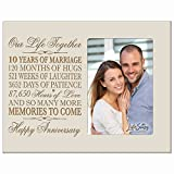 Ten year anniversary gift her him couple Custom Engraved 10th year wedding celebration for husband wife girlfriend boyfriend frame holds 4x6 photo by LifeSong Milestones (Ivory)