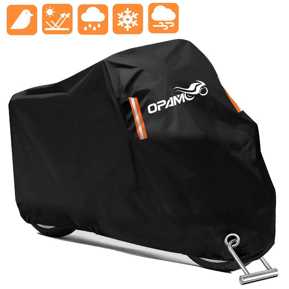 Motorcycle Scooter Cover Waterproof Outdoor - Large Medium XL 250cc 150cc 50cc Scooter Shelter for Harleys All Weather Motorbike Protection with Lock Holes Tear-proof Heavy-Duty (orange) by opamoo
