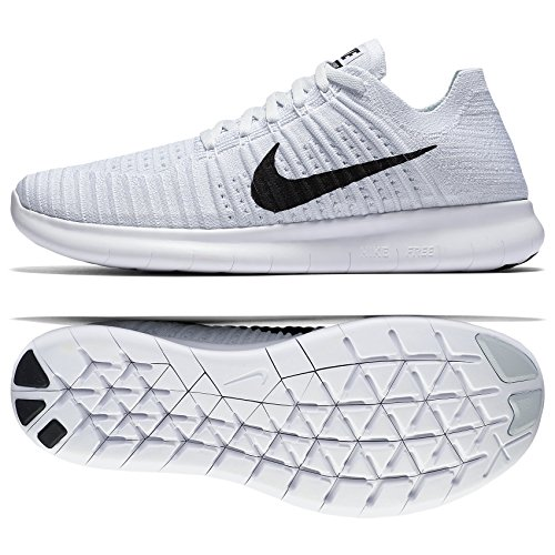 huge discount e4a1a c824e Nike Free RN Flyknit 831069-101 White/Platinum/Black Men's Running Shoes (