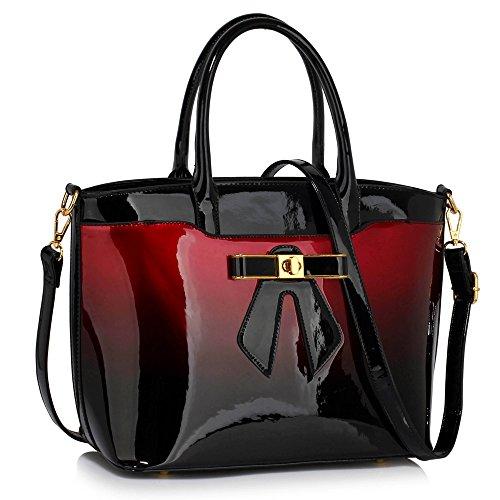 Design Zip Tote Designer Front 2 Tone New Shoulder Patent Design Handbag Closure Top 1 Ladies Burgudy Bag Bow Womens w6qaSHW