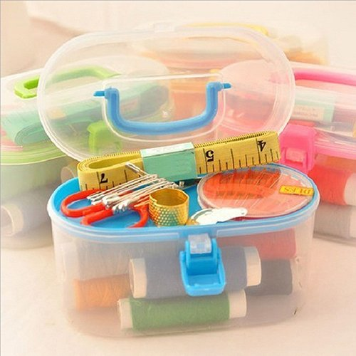 Gemini_mall Sewing Kit, Sewing Needles Sewing Accessories Household Portable Needlework Box, Mini Household Sewing Accessories for Home, Travel and Emergency Use (Random Colour)