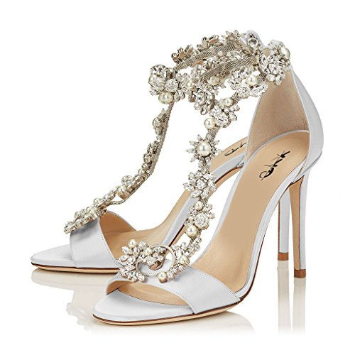 XYD Cocktail Party Evening High Heeled Stilettos Wedding Rhinestones Sandals T-Strap Crystal Pumps for Women Size 9.5 Ivory - Ivory T-strap Sandal
