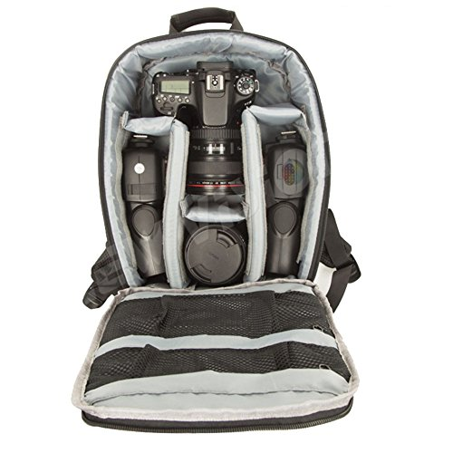 Professional camera Backpack Waterproof for DSLR /SLR Cameras (Canon , Nikon , Sony and etc ) , Tripods , Flashes, Lenses and Accessories #A1705 Grey - Slr Accessory