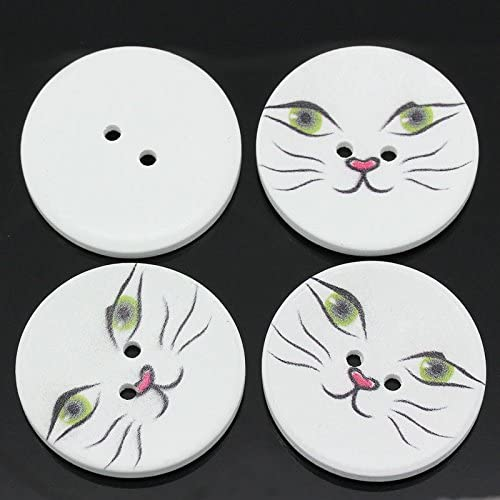 2 Trous Boutons Ronds en Bois Chat Kitty 23mm LOT de 4 ou 10