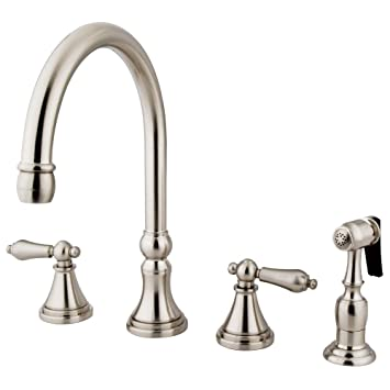 Kingston Brass Ks2798albs Governor Deck Mount Kitchen Faucet With