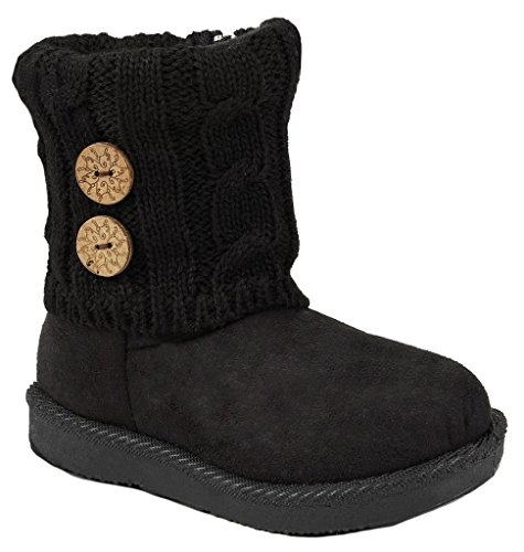 Kids Girl Smart18 Black Slouch Button Sweater Knit Cuff Faux Fur Lined Shearling Winter Ankle Boots-11 (Black Lined Ankle Cuff)