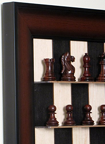 (Rosewood Supreme Chess Pieces on Black Maple Vertical Straight Up Chess set)