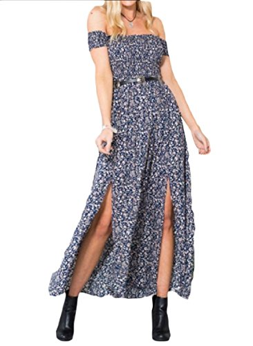 Swing Collar Maxi Coolred Word Long Navy Dress Sexy Blue Leisure Print Women Split O5wwZqX