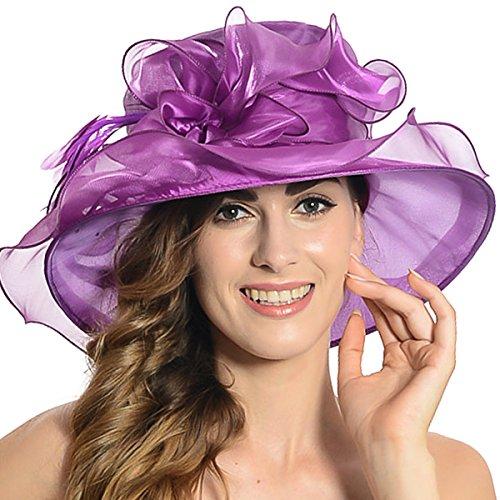 Women Satin Church Christening Derby Kentucky Wedding Formal Party Hat Ss035 (9 Colors) (Purple)
