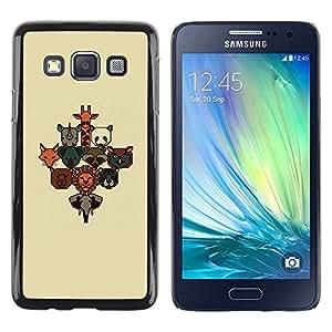 Caucho caso de Shell duro de la cubierta de accesorios de protección BY RAYDREAMMM - Samsung Galaxy A3 SM-A300 - Animal Poster Brown Beige Cute