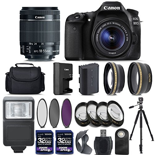 Canon EOS 80D Digital SLR Camera + 18-55mm is STM Lens + 2 X 32GB + Telephoto + Wide-Angle Lens + 4PC Macro Kit + 3PC Filter Kit + Flash + Case + Tripod – International Version (No Warranty)