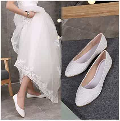 e6d2709cd Mary Steele Autumn Bride Red White Large Size Pointed Bridesmaid Dress Flat  Wedding Shoes Women