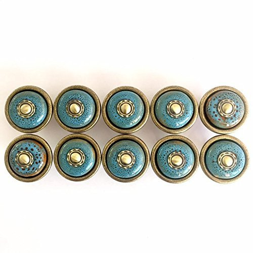 Tonena Set of 10 Antique Blue ceramic pumpkin knobs cabinet drawer handles pulls for Kitchen Furniture Door Drawer Cabinet Dresser Closet Wardrobe Cupboard Bathroom (Bathroom Antique Cabinets)