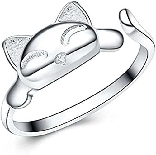 Amazon Com S E Women S 925 Sterling Silver Rings Simple Cute Cat