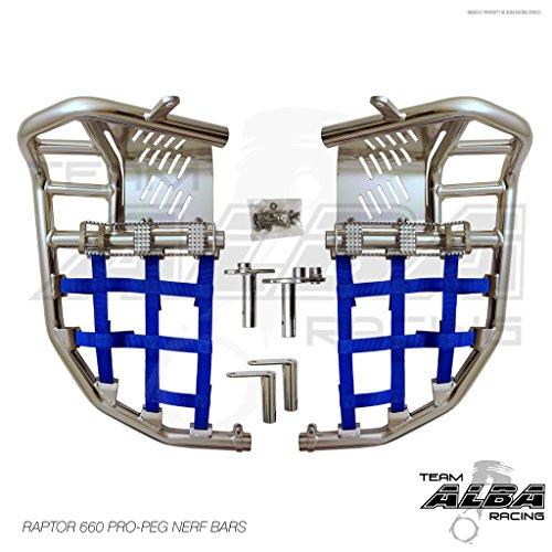 Yamaha Raptor 660 YFM 660R (2001-2005) Propeg Nerf Bars Silver w/ Blue Net (Bars Nerf 660 Raptor)