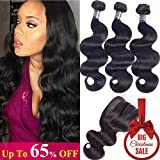 Amella Hair Brazilian Body Wave Human Hair 3 Bundles with Lace Closure (18' 20' 22'+16'Closure,Three Part,Natural Black) 8A 100% Unprocessed Brazilian Body Wave Human Hair Weave With Lace Closure