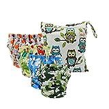 Ohbabyka Baby Cloth Training Pants,Baby Diapers Waterproof Pants 4PCS, 1pc Single Zipper Wet Bag