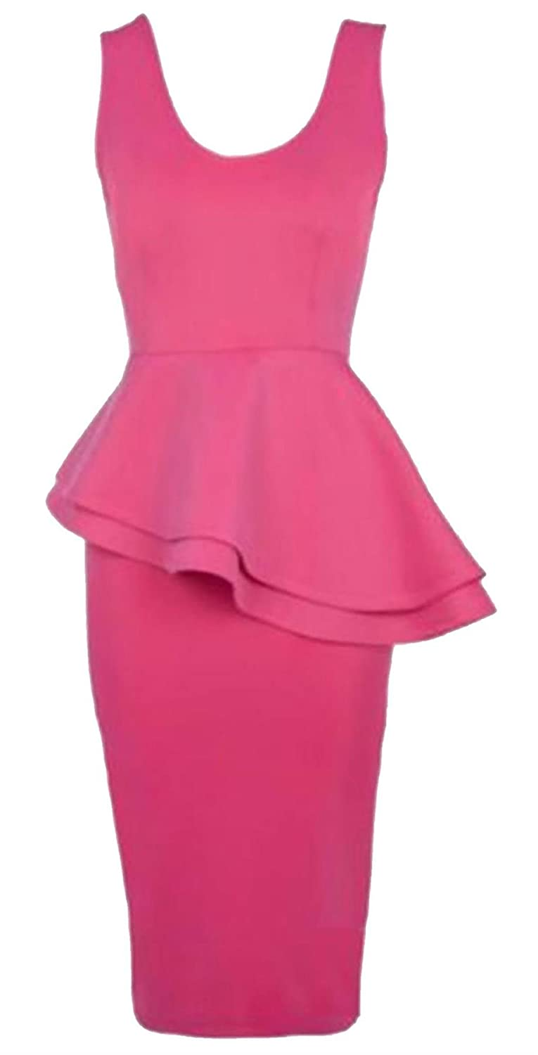 3XL Islander Fashions Womens Side Frill Slant Peplum Dress Ladies Fancy Party Senza Maniche Bodycon Dress Small