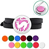 Lademayh Essential Oils Bracelet for Kids Aromatherapy Jewelry Cute Cat Diffuser Bracelet, Stainless Steel Magnetic Diffuser Locket with Leather Bracelet