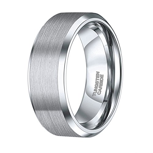 Shuremaster 8mm Mens Womens Tungsten Ring Beveled Edge Brushed Silver Wedding Band Comfort Fit Size 13