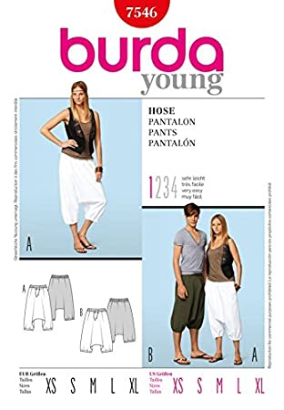 Amazon.com: Burda Ladies & Mens Easy Sewing Pattern 7546 Harem Pants ...