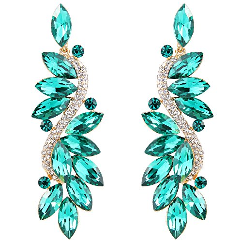 BriLove Wedding Bridal Clip On Earrings for Women Crystal Multi Marquise Filigree Flower Chandelier Dangle Earrings Emerald Color ()