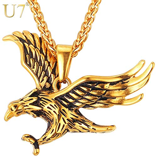 Davitu U7 Brand Eagle Necklace Statement Jewelry Sale Gold Color Stainless Steel Hawk Animal Charm Pendant /& Chain for Men P748 Metal Color: Gold-Color